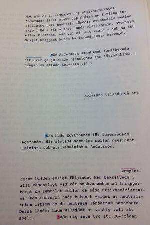 Rapport om samtal mellan Sveriges utrikesminister Sten Andersson och president Koivisto