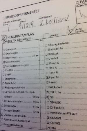 Protokoll från svenska UD.