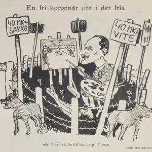 En fri konstnär ute i det fria - eller Akseli Gallen-Kallela ute på Alberga. Karikatyr i tidskriften Fyren 32/1914 1914