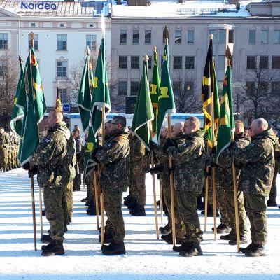 Puolustusvoimat juhlisti jääkäreiden 100-vuotta sitten tapahtunutta kotiinpaluuta Vaasassa 24.2.2018.