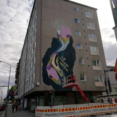 Seinämaalaus Kuopiossa keskustan kupeessa