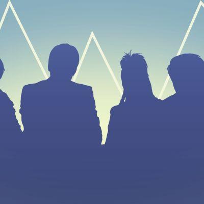 Grafiikkakuva, jossa taustalla siluetti Ihmisten puolue -sarjan hahmoista ja etualalla lukee Vaalikone.