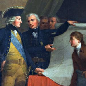 Augustin Ehrensvärd esittelee Viaporin piirustuksia kuningas Aadolf Fredrikille (yksityiskohta Gustav Hasselgrenin maalauksesta)