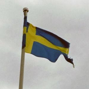 En trasig Sveriges flagga vajar i vinden.
