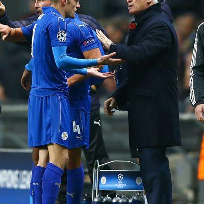 Jamie Vardy och Claudio Ranieri