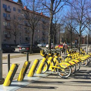 Stadens gula lånecyklar i Kottby.