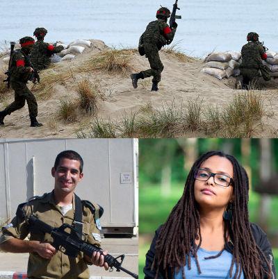 Ett bildcollage. På en större övre bild syns fyra soldater som springer över en sandig strand, och två soldater som sitter i maskingevärsnästen. . Under den är porträtt på fyra personer, tre med militäruniform på sig.