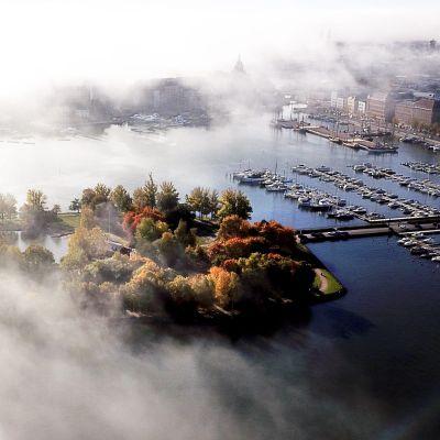Syksyn värejä ja sumua Helsingissä 11.10.2018.