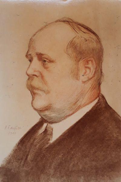 Helsingfors Universitets vaktmästare T.V. Ståhlberg avbildad av Albert Edelfelt