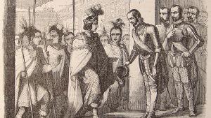 Vanha piirros Cortés Meksikoa valloittamassa