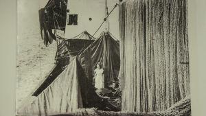 Mustavalkoinen kuva: Nainen seisoo ison kalastusaluksen kannella. Etualalla roikkuu suuret kalaverkot.