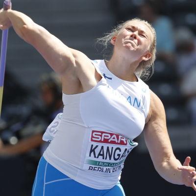 Jenni Kangas kastar spjut vid EM 2018.
