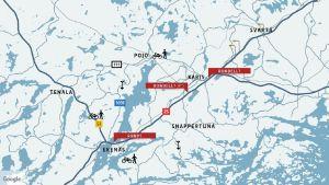 Karta över Raseborg, inritat finns olika symboler som visar hurdana arbeten som planeras var. Bland annat cykel för cykelväg, spade för vägarbete, rondell osv.