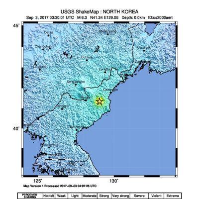 Karta som visar var jordskalvet upptäcktes.