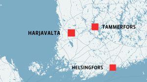 Kartan visar att Harjavalta ligger nära kusten sydväst om Tammerfors.