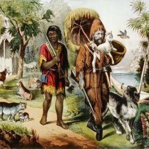 En handkolorerad litografi som föeställer Robinson Crusoe och Fredag, ca 1874.