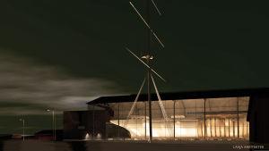 Arkitektskiss över den nya Vegahallen i nattbelysning