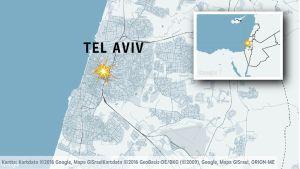 Karta över Tel Aviv i Israel.