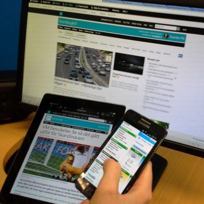 smarttelefon, tablett- och bordsdator