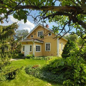 Gult trähus med trädgård på sommaren.
