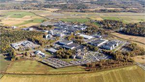 Flygbild över industriområdet Runsor i Vasa.