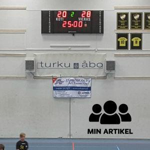 Bild av resultattavla som visar att matchen slutade 20-28.