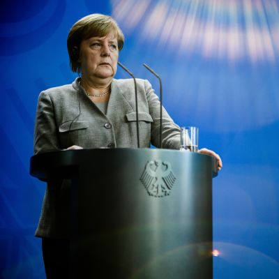 Liittokansleri Angela Merkel tiedotustilaisuudessa Berliinissä 12. lokakuuta.