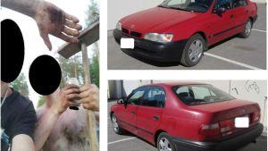 Montage av två män och en bil.