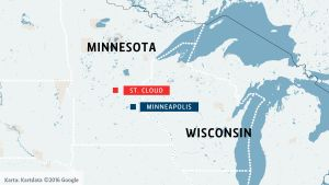 Karta över Minnesota med omgivning