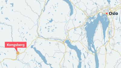 Karta över Norge där Oslo och Kongsberg är utritade.