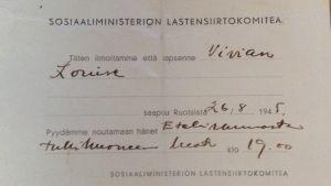 Meddelande om att krigsbarn anländer hem 1945