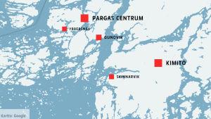 Karta över Gundvik och Skinnarvik i Åboland.