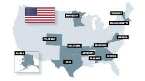 Karta över delstater som anordnar primärval under den så kallade supertisdagen.