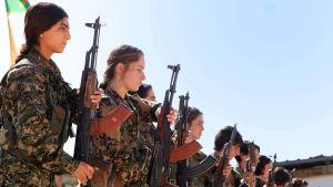 Kvinnliga peshmergasoldater i Syrien.