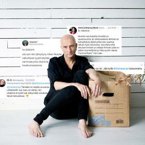 Herra Ylppö istuu lattialla ja taustalle on muokattu twiittejä, joissa kritisoidaan Ylpön ableistista päivitystä sosiaalisessa mediassa.