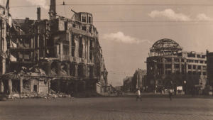 Den förstörda Potsdamerplatsen efter andra världskriget
