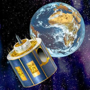 Meteosat ja maapallo piirroksessa