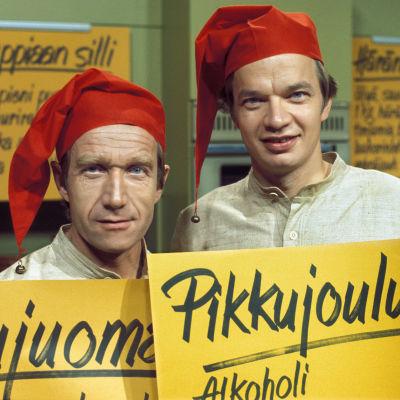Tv-kokit Vanamo ja Kolmonen ohjelmassa Asia on pihvi, joulupihvi. 1975.