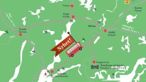Karta över rutten som sommarbussen körde i Raseborg.