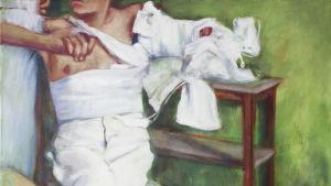 målning av en ung man med mellangärdet och högra armen inlindade i vita bandage och bar överkropp. av ansiktet syns bara hakan