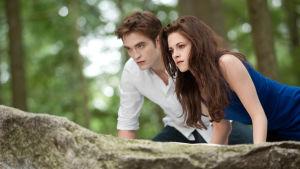 Två personer står vid ett träd och tittar åt sidan.