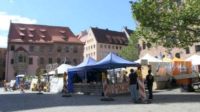 Klimataktivisternas läger i centrum av staden Nürnberg