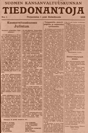 Suomen Kansanvaltuuskunnan Tiedonantajan ensimmäinen numero 1.2.1918.