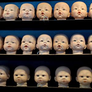 Vauvanukkejen päivä hyllyillä rivissä