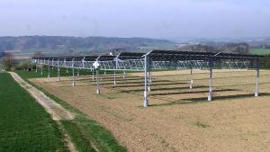 Solpaneler ovanför tysk åker