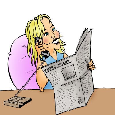 Kvinna ringer och läser tidning