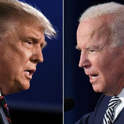 Ett collage på Donald Trump och Joe Biden.
