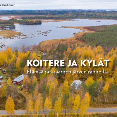 Koitere ja kylät -kirjan kansikuva, jossa on syksyinen järvimaisema.