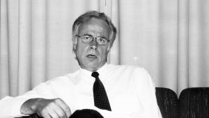 SDP-politikern Mats Nyby. Svartvit bild.