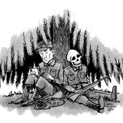 Piirros, jossa sotilas ja luuranko kuusen alla.